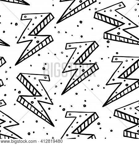Thunderbolt Black Outline Illustration On White Background Seamless Pattern.