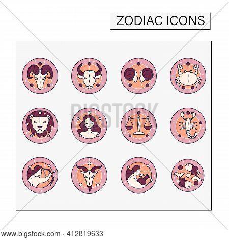 Zodiac Color Icons Set. Fourth Fire Signs In Zodiac. Birth Symbols. Mystic Horoscope Signs. Astrolog