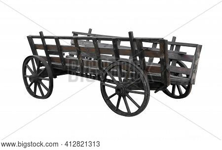 Old Decrepit Wagon On Four Wheels, On A White Background Isolated