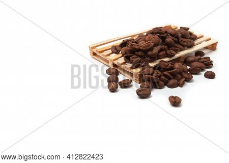 Coffee Beans On A Pallet. Coffee Wholesale Concept.