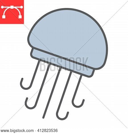 Jellyfish Color Line Icon, Sea And Ocean Animals, Jellyfish Vector Icon, Vector Graphics, Editable S