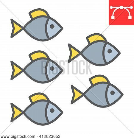 Group Of Sea Fishes Color Line Icon, Sea Fish And Ocean Animals, Fishes Vector Icon, Vector Graphics