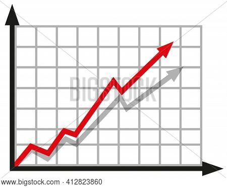 Graph With Increase Report. Diagram With Rise And Gain Progress. Vector Illustration