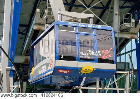 Tiroler Zugspitzbahn At The Austrian Station, A Wire Ropeway Going Up To The Summit Of The Zugspitze