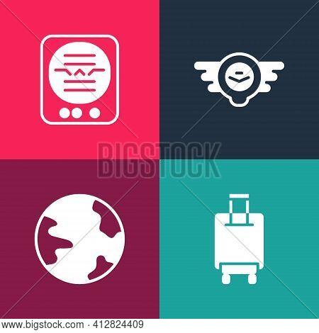 Set Pop Art Suitcase, Worldwide, Aviation Emblem And Attitude Indicator Icon. Vector