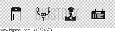 Set Metal Detector In Airport, Aircraft Steering Helm, Pilot And Airport Board Icon. Vector