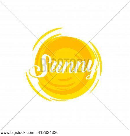 Sunshine, Hot Orange Sun, Vector Logo Template. Summertime, Warm Summer Sunny Day, Isolated Icon. Su