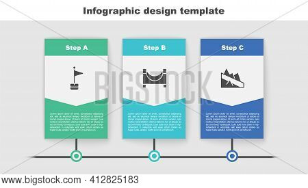 Set Location Marker, Skate Park And Mountain Descent. Business Infographic Template. Vector