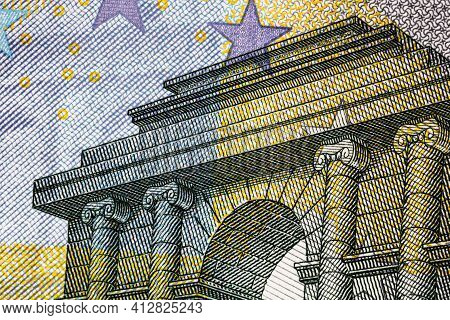 Selective Focus On Detail Of Euro Banknotes. Close Up Macro Detail Of Money Banknotes, 5 Euro Isolat