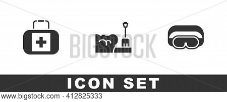 Set First Aid Kit, Shovel In Snowdrift And Ski Goggles Icon. Vector