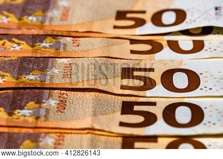 Selective Focus On Detail Of Euro Banknotes. Close Up Macro Detail Of Money Banknotes, 50 Euro Isola