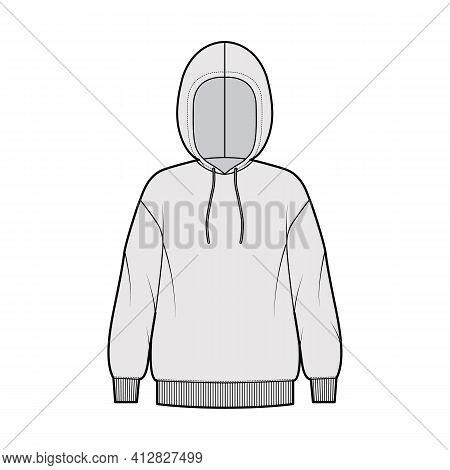 Hoody Sweatshirt Technical Fashion Illustration With Long Sleeves, Oversized Body, Knit Rib Cuff, Ba