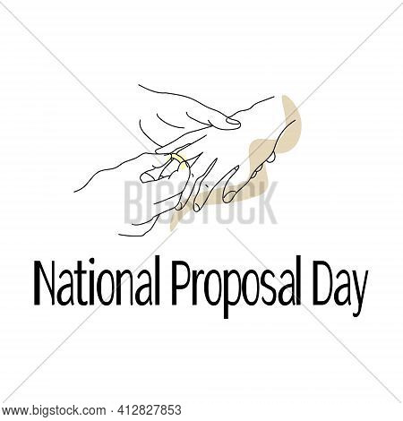 National Proposal Day, Outline Of Hands In The Process Of Putting On The Ring, Idea For A Banner Or