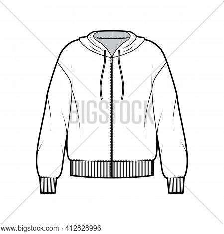 Zip-up Hoody Sweatshirt Technical Fashion Illustration With Long Sleeves, Oversized Body, Knit Rib C