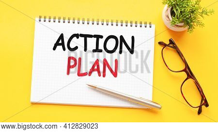 Word Text Action Plan On White Paper Card, Business Concept