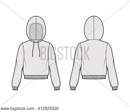 Hoody Sweatshirt Technical Fashion Illustration With Long Sleeves, Relax Body, Knit Rib Cuff, Banded