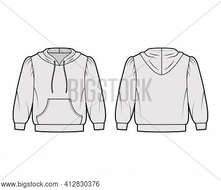 Hoody Sweatshirt Technical Fashion Illustration With Elbow Sleeves, Relax Body, Kangaroo Pouch, Band