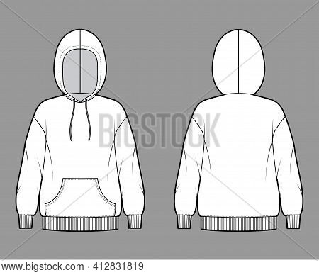 Hoody Sweatshirt Technical Fashion Illustration With Long Sleeves, Kangaroo Pouch, Knit Rib Cuff, Ba