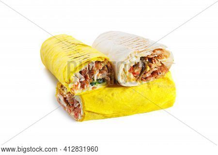 Two Parts Of Eastern And Greek Cheesy Shawarma
