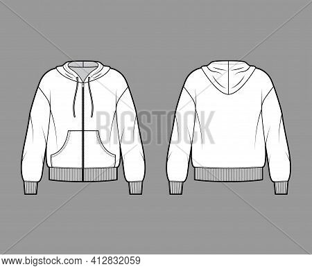 Zip-up Hoody Sweatshirt Technical Fashion Illustration With Long Sleeves, Oversized Body, Pouch, Kni