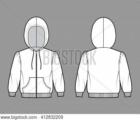 Zip-up Hoody Sweatshirt Technical Fashion Illustration With Elbow Sleeves, Relax Body, Kangaroo Pouc