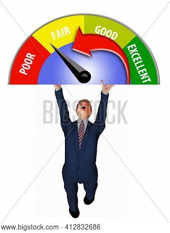 A Man In A Business Suit Struggles To Hold Up A Credit Score Meter In This 3-d Illustration About Cr