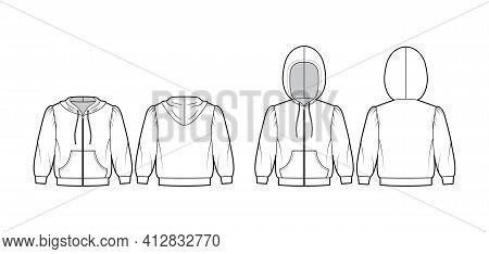 Set Of Zip-up Hoody Sweatshirt Technical Fashion Illustration With Elbow Sleeves, Relax Body, Kangar