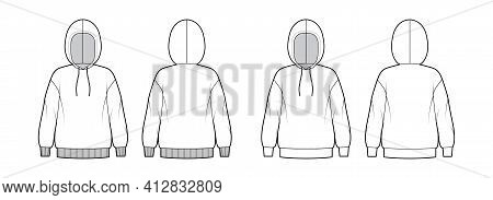 Set Of Hoody Sweatshirt Technical Fashion Illustration With Elbow Sleeves, Relax Body, Banded Hem, D