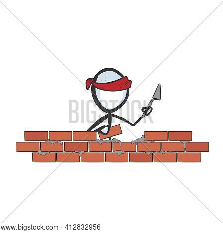 Construction Worker Laying Bricks. Vector Simple Stickman. Building Installing Red Bricks House. No