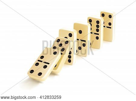 Fallen Domino Tiles Raw. Realistic Vector Domino Effect. Graphic Illustration Isolated On White Back