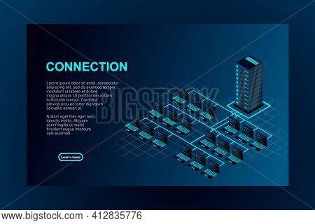 Transfer Of User Data To The Server. Data Flow. Data Storage. Server. Digital Space. Data Center