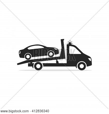 Tow Truck Icon, Towing Truck Van With Car Sign. Vector Isolated Flat Sign.