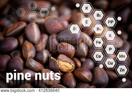A Lot Of Small Unpeeled Pine Nuts. Siberian Pine Nuts For A Background On Healthy Nutrition. One Nut