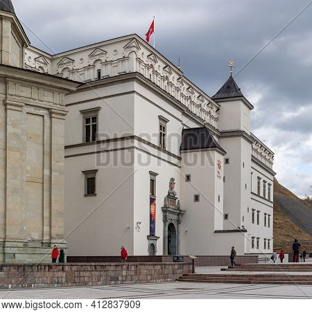 Vilnius, Lithuania - March 14, 2021: Royal Palace Of Lithuania In Cathedral Square In Vilnius, Lithu