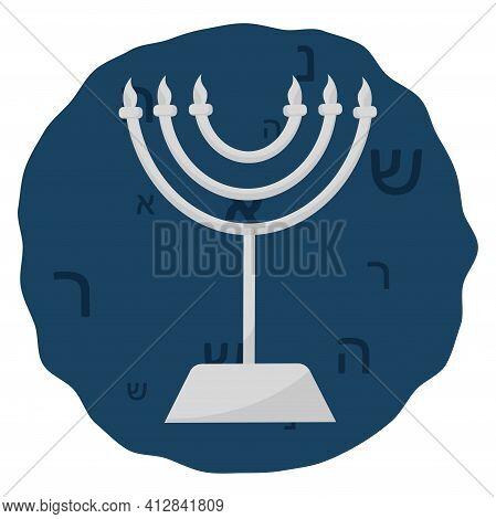 Isolated Rosh Hashana Candle Judaism Festive Icon- Vector