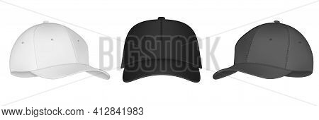 Vector Baseball Cap Front And Side View. Mockup Isolated On Transparent Background. Uniform Cap With