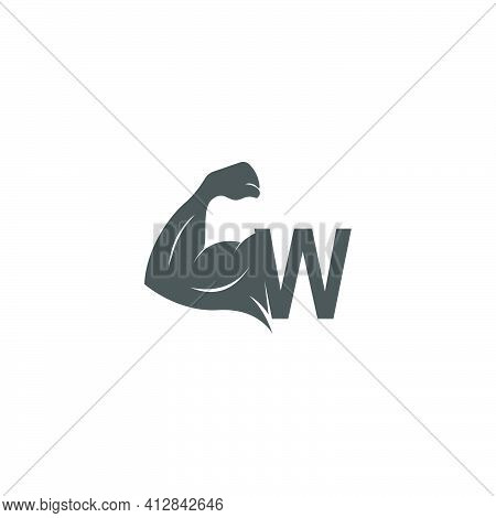 Letter W Logo Icon With Muscle Arm Design Vector Illustration