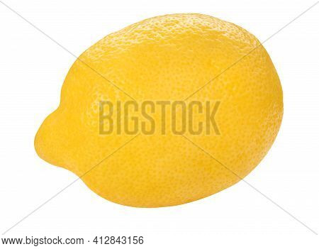 Yellow Lemon Closeup Isolated On White Background. Whole Fresh Limon Front View. Healthy Fruit Food