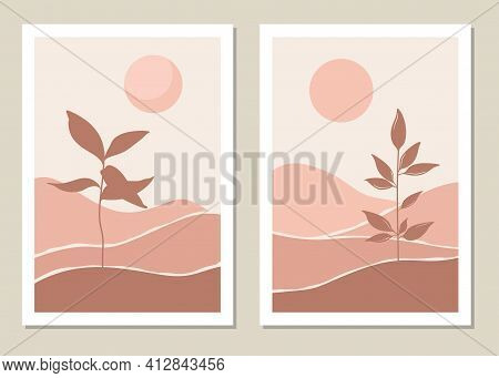 Art Landscape Wall Set. Botanical. Abstract Landscape Design For Covers, Posters, Prints, Wall Art I