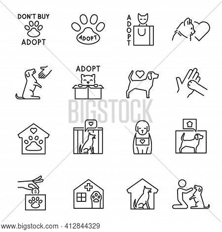 Collection Of Outline Animal Shelter Icon Vector Illustration Cat And Dog Help Donation Adoption