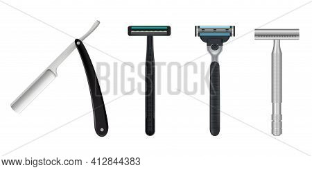 Collection Of Realistic Man Razor Vector Illustration Colorful Wet Shave Razors Shaving Mock Up