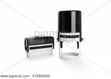 Office plastic stamp on white background, including clipping path