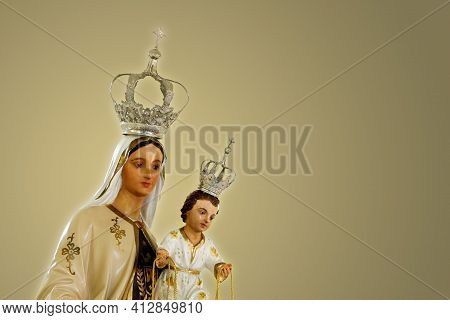 Statue Of The Image Of Our Lady Of Carmel, Nossa Senhora Do Carmo, Mother Of God In The Catholic Rel