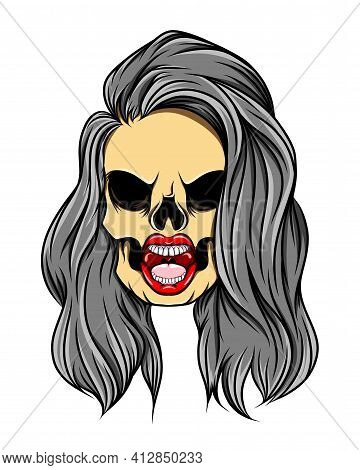 The Hand Drawn Of The Gloomy Girl Skull With The Under Cut Long Hair Of Illustration