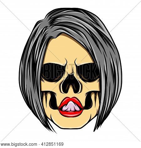 The Glossy Coloured Sexy Women Skull With The Bob Asymmetries Hair Style Of Illustration
