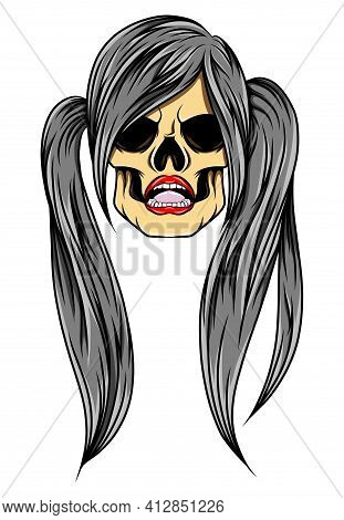 The Unique Women Skull With The Twin Pony Tail For The Tattoo Inspiration Of Illustration