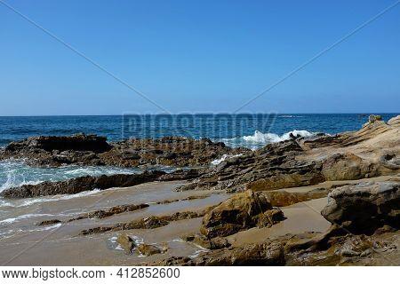 Rocky Coastline at Laguna Beach a Southern California beach town.