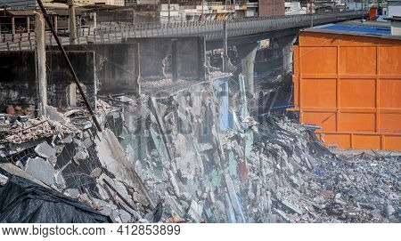 The Building Under Construction In Destroyed Area And Prepare For Building Up The New Condominium Or