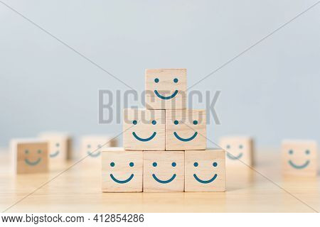 Wooden Cube Block Shape With Icon Face Smiley, The Best Excellent Business Services Rating Customer