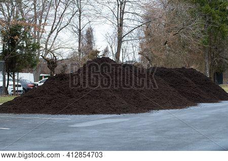 Big Pile Mulch Black Garden Ecology Farm